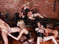 Babe, Group Sex, Lesbian, Strapon